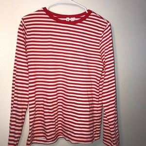 long sleeve red and white striped shirt.
